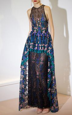 Thread Embroidered Guipure And Tulle Long Dress by SANDRA MANSOUR for Preorder on Moda Operandi