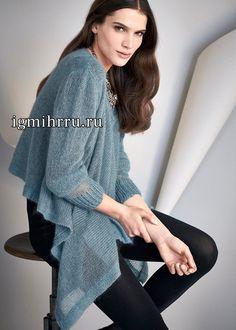 Серо-голубой мохеровый пуловер. Вязание спицами