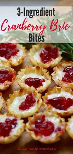 Utilizing leftover tart cranberry sauce from Thanksgiving, a wheel of creamy brie cheese and light, crispy mini fillo shells, these elegant and delicious appetizers will wow your family and friends and they will never guess how easy they are to make. My best advice, make twice as many as you think you will need because they will go fast!   #christmasappetizer, #christmaspartyfood, #appetizer, #cranberryrecipes   via @gritspinecones #appetizerrecipes