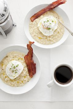 risotto with Poached Egg & Bacon [ made this a couple of times & it's really good ]