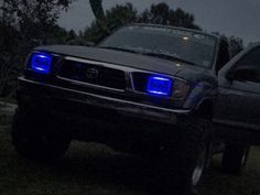 Clay's 1996 Toyota Tacoma with Blue Halo Sealed Beam Projector Headlight Conversion