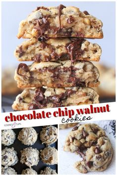 These Chocolate Chip Walnut Cookies are thick soft loaded with chocolate and walnuts. I am sharing the EASY trick on how to make the thickest chocolate chip cookies ever! - Chocolate Chip - Ideas of Chocolate Chip Chocolate Chip Walnut Cookies, Homemade Chocolate Chips, Chocolate Cookie Recipes, Mint Chocolate, Walnut Cookie Recipes, Homemade Cookies, Yummy Cookies, Fun Desserts, Cookies Et Biscuits