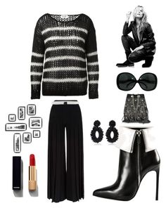 """Black and white"" by kotnourka ❤ liked on Polyvore featuring Jérôme Dreyfuss, Yves Saint Laurent, Marco de Vincenzo, Bibi Marini, Space Style Concept, Superfine and Chanel"