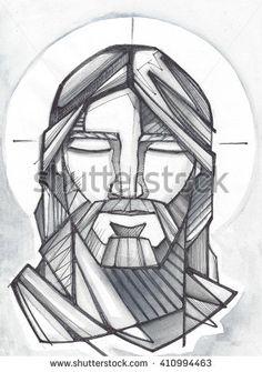 Hand drawn illustration or drawing of Jesus Christ Praying