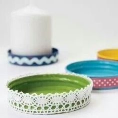 Bonne maman jam jar lids as candle holders