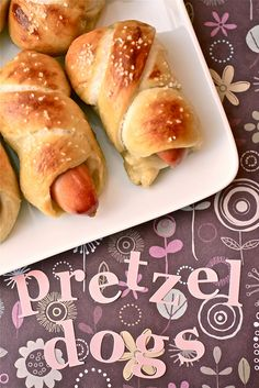 "Pretzel Dogs!! woohoo gotta try this recipe. She says ""there is nothing to it"""
