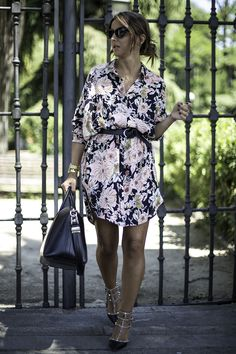 floral shirtdress and Valentino heels