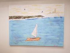 Impressionism Seascape Original Oil on Canvas Painting Artist Signed  #Impressionism