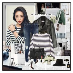 """Black,White,Leather,Stripes"" by rainie-minnie ❤ liked on Polyvore featuring RED Valentino, J Brand, Monki, Tom Ford, Christian Louboutin, Balenciaga, Maison Michel, Revlon and Larsson & Jennings"