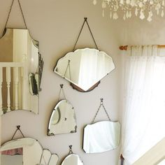 30 Vintage Mirror Gallery Decorating Ideas For Your Home Art Deco Bathroom, Art Deco Mirror, Bathroom Mirrors, Wall Of Mirrors, Hanging Mirrors, Mirror Gallery Wall, Mirror Collage, Small Mirrors, Bathroom Colors