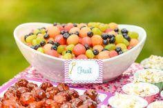 Bubble party ideas- Meatballs, round fruit salad and other round foods, plus bubble wrap dance floor! Love it! | -Lemonberry Moon blog