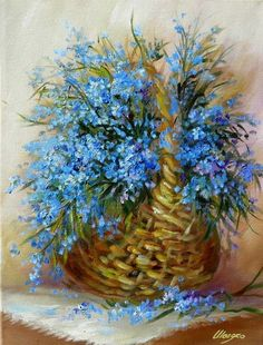 Enjoying The Journey:Cancer As A Lifestyle: A Christmas Eve Tradition Paintings I Love, Beautiful Paintings, Blue Flowers, Beautiful Flowers, Images Victoriennes, Christmas Eve Traditions, Arte Floral, Vintage Flowers, Bunt