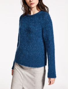 "Mohair and wool sweater, cornflower blue - ""CONIO"" Max Mara"