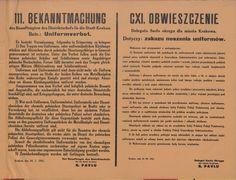 Zakaz noszenia mundurów - obwieszczenie Delegata Szefa Okręgu dla miasta Krakowa o zakazie noszenia wszelkich mundurów, czapek i odznak. Kraków 24 lipca 1941 r.