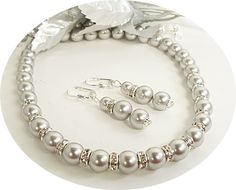LOVE THIS - Bridal Jewelry Gray, Pearl Necklace and Earrings, Bridesmaid, Dressy, via Etsy.