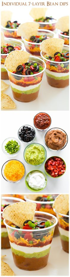 Individual 7 Layer Bean Dips - good bye sloppy scooping and double dippers! LOVE these! Individual 7 Layer Bean Dips - good bye sloppy scooping and double dippers! LOVE these! 7 Layer Bean Dip, Layered Bean Dip, 7 Layer Dip Recipe, Snacks Für Party, Appetizers For Party, Appetizer Recipes, I Love Food, Good Food, Yummy Food