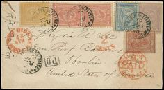 Egypt, Scott 19-23, SG 28-32. 1875 Cover from Luxor to USA, 1872 5pa brown, 10pa mauve, 20pa blue, 1pi red (2), 2pi yellow (Scott 19-23; SG 28-32) all tied by bilingual Arabic dated «POSTE EGIZIANE-LUXOR» Feb 25 1875 cds cancels in black, boxed «P.D.» in black, red London Mar 15 PAID and New York Paid All Mar 27 transit cancels plus two strikes of «2 Cents» credit marking (one on the 5pa stamp), back side with «POSTE KHEDEVIE EGIZIANE - SIUT» March 1 transit (nine days after earliest…