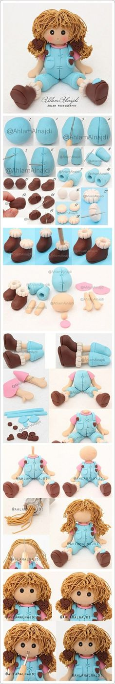 Clay doll making step diagrams