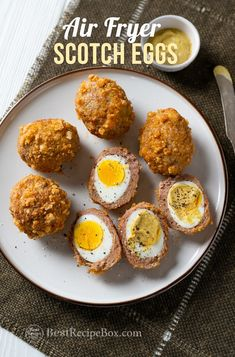 Air Fried Scotch Eggs low carb keto in Air Fryer and perfect for breakfast or brunch. Easy recipe for air fryer scotch eggs that's wrapped in sausage Air Fryer Recipes Low Carb, Air Fryer Dinner Recipes, Low Carb Recipes, Cooking Recipes, Recipes For Eggs, Fried Egg Recipes, Egg Recipes For Dinner, Best Egg Recipes, Healthy Egg Recipes