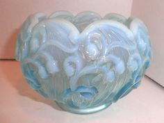 Blue Aqua Opalescent Glass Fenton Rose Bowl Scalloped Signed