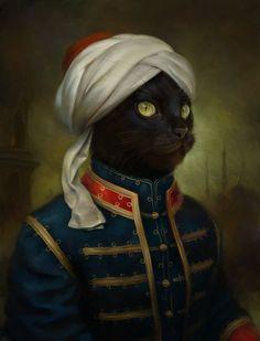 uggly:  Regal Cats in Oil by Eldar Zakirov