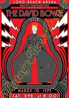 729 - DAVID BOWIE - Long Beach, California, Us - 10 March 1973 - artistic concert poster - Medium Size 20 x 28 inches