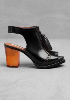 plexi heel loafer sandal with tassels