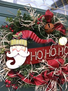 Santa Christmas Country come see my wreaths for sale on Facebook:  Wreaths by Cherie