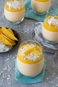 Mango Coconut Cheesecake Jars - no bake mango coconut cheesecake with a layer of fresh mango puree!