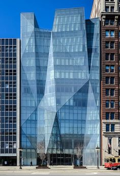 Spertus Institute, Michigan Avenue, Chicago. This building features interconnected interior spaces and a one-of-a-kind, ten-story faceted window wall built from 726 individual pieces of glass in 556 different shapes. A 6700 square-foot green roof (planted with special vegetation) manages storm water, absorbs air pollution, and keeps the building cool in the summer.