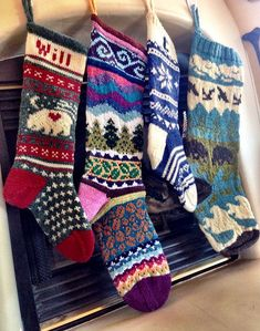 Knitting Patterns Christmas Ravelry: Project Gallery for Spindleknitter& Stockings pattern by Kirsten Hall Fair Isle Knitting, Knitting Socks, Hand Knitting, Knitting Patterns, Crochet Patterns, Knit Stockings, Knitted Christmas Stockings, Christmas Knitting, Diy Christmas Stocking Pattern