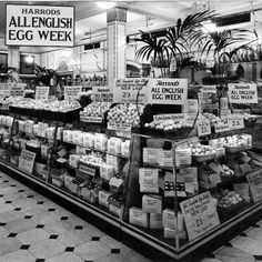 London England - Harrods Food Halls in the All English Egg Week Vintage London, Old London, Vintage Shops, Vintage Pictures, Old Pictures, Old Photos, Vintage Images, London History, British History