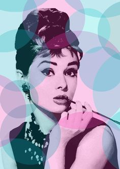 Digital download - audrey hepburn - audrey hepburn poster - breakfast at tiffany's - pop art -black and white -pop art -poster - teal pink. $7.00, via Etsy.