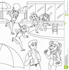 Swimming Pool Coloring Pages