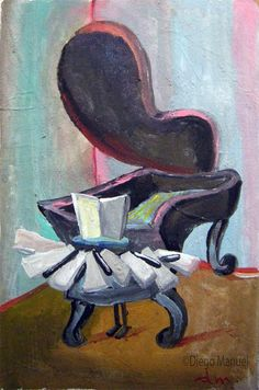 crazy piano, acrylic on canvas, 15 x 23 cm. 2004. Drawing of a piano for sale by artist Diego Manuel