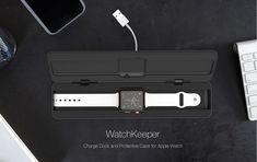 Watchkeeper is the ultimate charging dock for Apple Watch. Watchkeeper protects your watch when on the move and neatly stores the charge cable in its base.