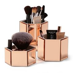 Beautify Mirrored Rose Gold Glass Hexagon Storage Pots fo...