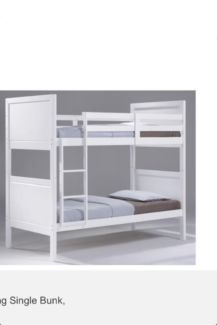 bunk bed only white king single hardwood /mdf solid bunk timber slats hardwood warehouse clearance R.R.P $999 1700 x h 1156 x w 2128 x l GREAT PRICE !! BARGIN !! LIMITED STOCK   COME INTO THE WAREHOUSE BUY DIRECT PAY $500 CASH PRICE !! THIS PRICE IS ONLY IF YOU BUY DIRECT..