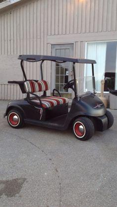 Golf cart painted flat black