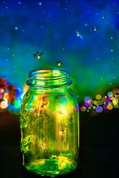 Did you know that fireflies are wish omens? Catch one to make your wish! As you cup it in your hands, whisper your wish to it. Set it free. If it flies out of sight instead of landing nearby, it has gone to make your wish come true. Put a lightning bug on the back of your ring finger, as though it were the jewel of a ring. Wish for some kind of jewel. If the bug glows, you will get the jewel some day. If it flies away without glowing first, you won't get such a jewel.