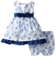 Amazon.com: Nannette Baby-Girls Infant Floral Printed Swiss Dot Dress and Panty Set, Swing Blue, 18 Months: Clothing