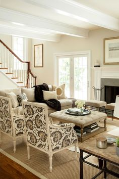 Neutral living room, hip traditional, large scale print on chairs, two sofas facing each other - Design Manifest Chestnut Hill Family Room like the coffee table Room Design, Living Room Furniture, Family Living Rooms, Small Living Room, Home Decor, Neutral Living Room, Living Decor, Home And Living, Furniture Layout