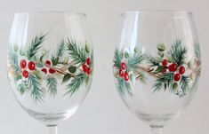 Hand Painted Wine Glasses Christmas Design by PaintedSnowflakes