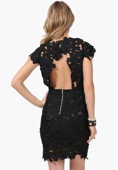 So sexy!!!!   Black Short Sleeve Floral Crochet Bodycon Dress 19.99