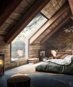 Rustic Master Bedroom Design, Rustic Home Design, Farmhouse Master Bedroom, Bedroom Loft, Dream Bedroom, Home Interior Design, Bedroom Decor, Bedroom Ideas, Comfy Bedroom