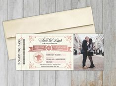 France Boarding Pass Save the Date | Save the Date Magnet | Social Savvy Design Destination Wedding Save The Dates, Destination Wedding Inspiration, Destination Wedding Invitations, Floral Wedding Invitations, Bridal Shower Invitations, Wedding Stationery, Passport Invitations, Custom Invitations, Invitation Cards