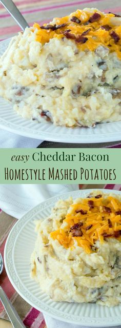 Homestyle Cheddar Bacon Mashed Potatoes - easy side dish recipe lightened up with Greek yogurt. Gluten free Homestyle Cheddar Bacon Mashed Potatoes - easy side dish recipe lightened up with Greek yogurt. Bacon Mashed Potatoes, Mashed Potato Recipes, Potato Dishes, Food Dishes, Soul Food Mashed Potatoes Recipe, Bacon Recipes, Potato Snacks, Roasted Potatoes, Casserole Recipes