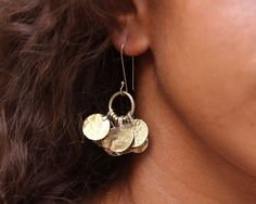 Floos Cluster Brass Earrings by HamimiMarrakech on Etsy