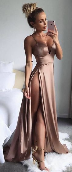 Sexy Champagne Party Dresses Spaghettis Straps Side Slits Formal Dresses