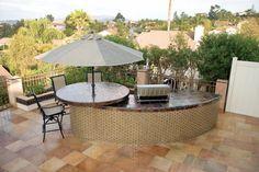 Glass tile back yard decor by Oceanside Glasstile.  www.glasstile.com